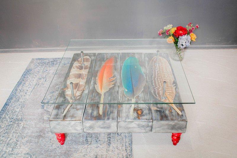 Grey wash bird feather coffee table with glass top cappa e spada bespoke furniture designs treniq 1 1518805225158