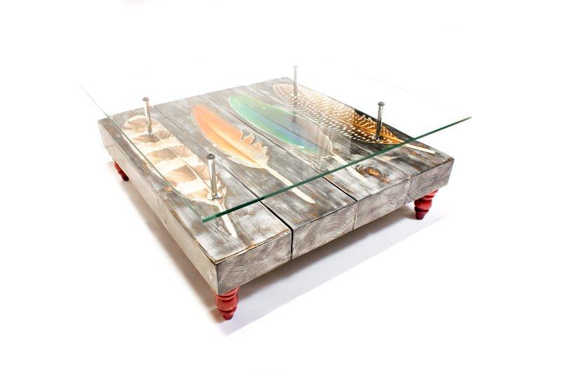Grey wash bird feather coffee table with glass top cappa e spada bespoke furniture designs treniq 1 1518805255499