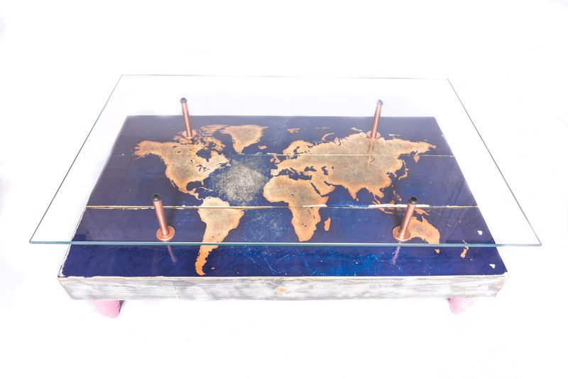 Modern world map coffee table with glass top cappa e spada bespoke furniture designs treniq 1 1518806118247