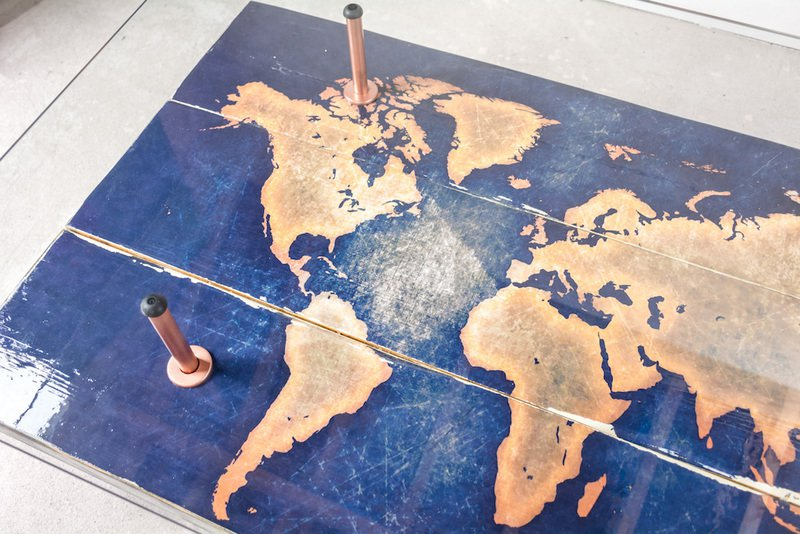Modern world map coffee table with glass top cappa e spada bespoke furniture designs treniq 1 1518806136646
