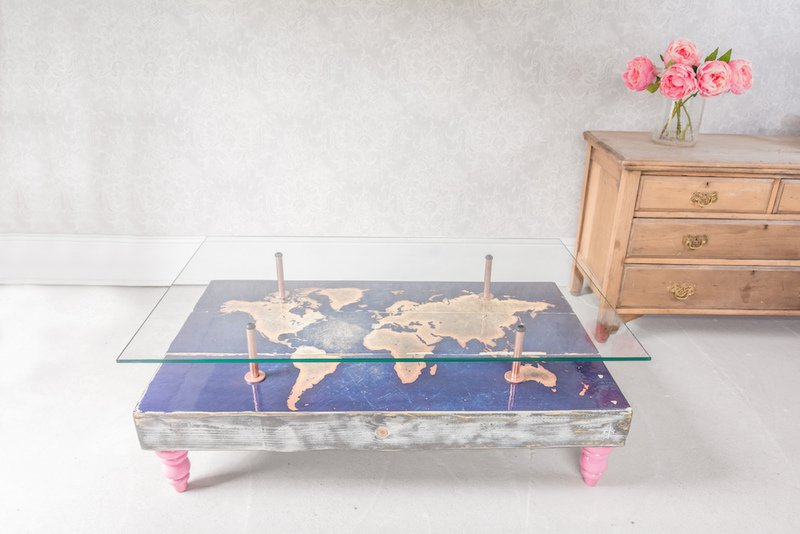 Modern world map coffee table with glass top cappa e spada bespoke furniture designs treniq 1 1518806218089
