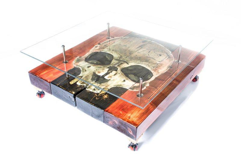 Gothic skull coffee table with glass top cappa e spada bespoke furniture designs treniq 1 1518806890838