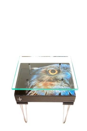 Electric owl side table with glass top (design a) cappa e spada bespoke furniture designs treniq 1 1518810552244