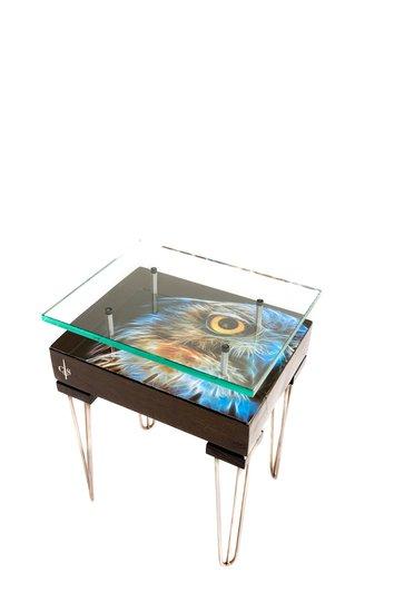 Electric owl side table with glass top (design a) cappa e spada bespoke furniture designs treniq 1 1518810562248