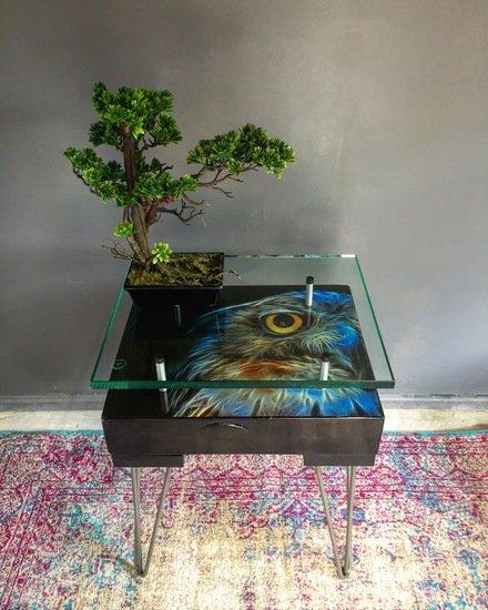 Electric owl side table with glass top (design a) cappa e spada bespoke furniture designs treniq 1 1518810605676