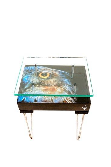 Electric owl side table with glass top (design b) cappa e spada bespoke furniture designs treniq 1 1518810723360
