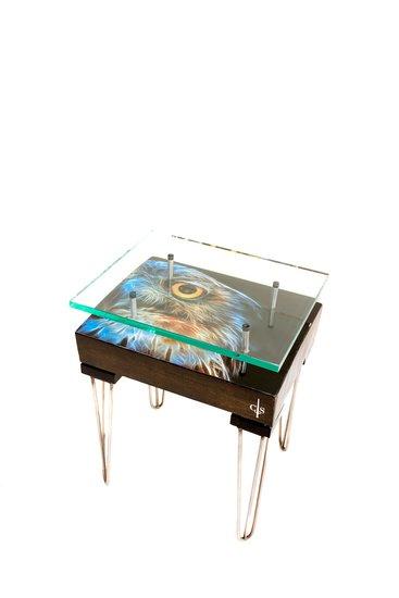 Electric owl side table with glass top (design b) cappa e spada bespoke furniture designs treniq 1 1518810735896