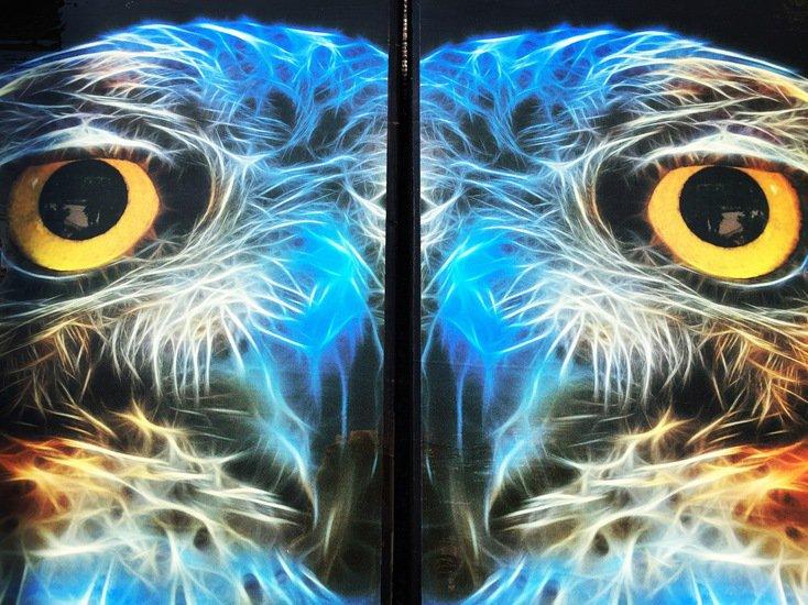 Electric owl side table with glass top (design b) cappa e spada bespoke furniture designs treniq 1 1518810767150