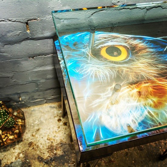 Electric owl side table with glass top (design b) cappa e spada bespoke furniture designs treniq 1 1518810786127