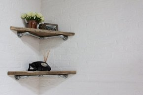 Vikki Pair Reclaimed Wood Corner Shelves