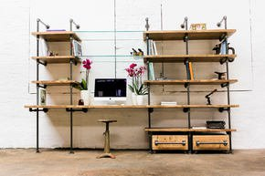 Hannah Reclaimed Wood Industrial Desk and Shelves