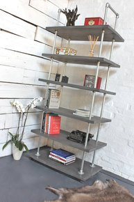 Dante Reclaimed Grey-Washed Bookcase