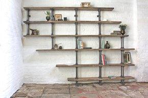 Emilie Asymmetric Reclaimed Wood Bookcase