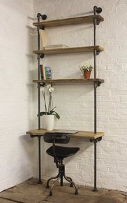 Baines Adjustable Shelves Bookcase with Desk
