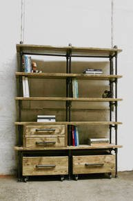 Ana-Maria Bookcase & Rolling Storage Boxes