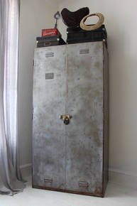 Charlie Chic 1950s Distressed Steel Cupboard