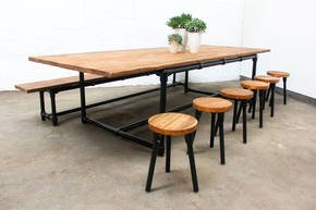 Noralyn Large Dining Table with Bench & 6 stools