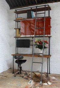 Nascha Desk & Shelf Unit and Rolling Ladders