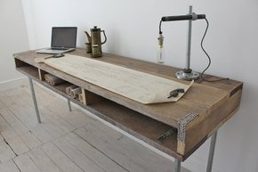 Ellie Chic Long Desk with Built In Storage