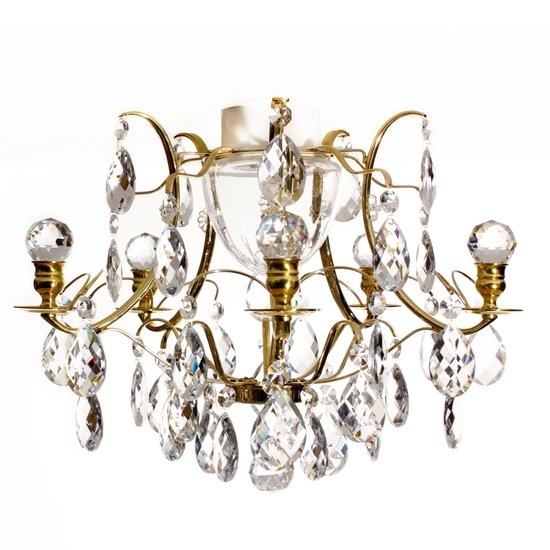 Brass bathroom chandelier with crystal shaped almonds and spears gustavian treniq 4 1519734356398
