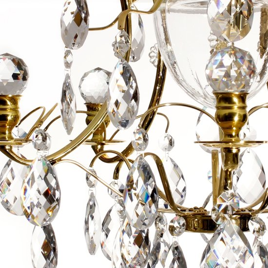 Brass bathroom chandelier with crystal shaped almonds and spears gustavian treniq 4 1519734397280