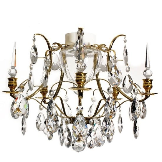 Brass bathroom chandelier with crystal almonds and spears gustavian treniq 1 1519742448668