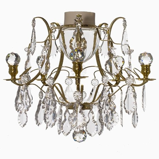 Brass bathroom chandelier with crystal pendeloqies and orbs gustavian treniq 1 1519744958522