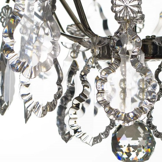 Chrome bathroom chandelier with crystal pendeloques and spears gustavian treniq 1 1519745952376