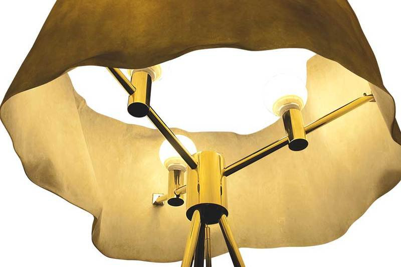 Floor lamp fiberglass brass aged ruby 2