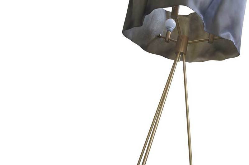 Floor lamp fiberglass brass aged ruby 3