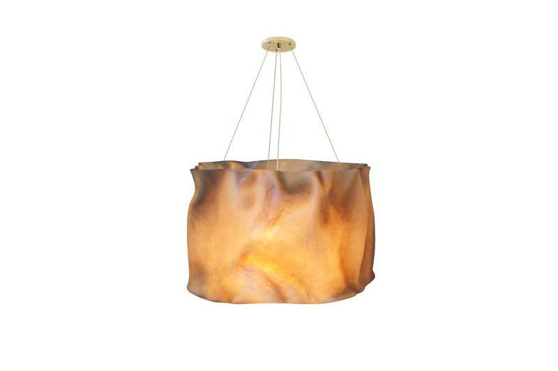 Suspension lamp fiberglass brass aged ruby 1