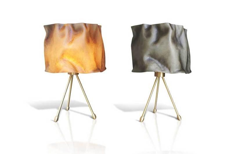 Table lamp fiberglass brass aged ruby 1