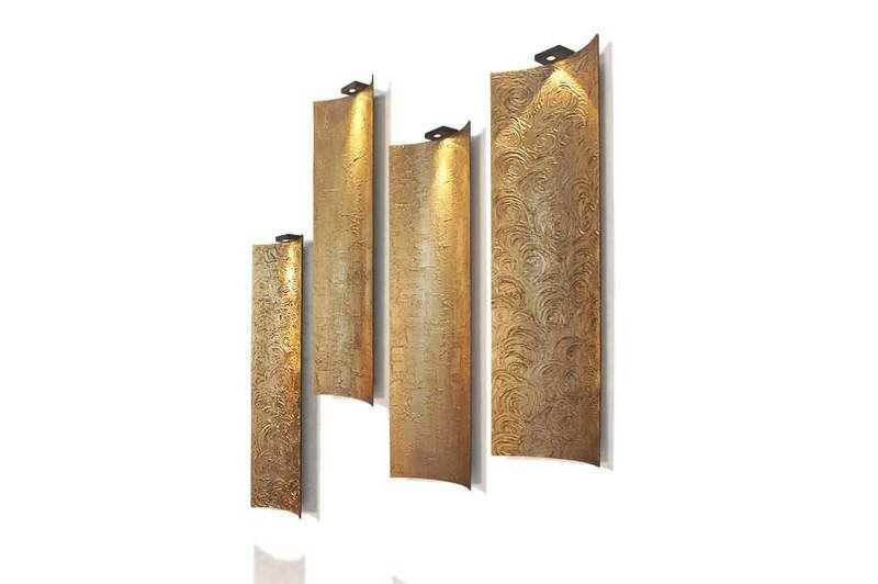 Wall panel lamp fiberglass gold leaf textured tiles 1 (1)