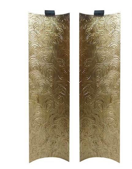 Wall panel lamp fiberglass gold leaf textured tiles 4