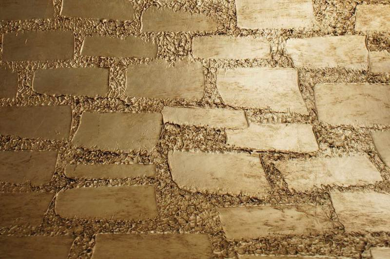Wall panel lamp fiberglass gold leaf textured tiles 2
