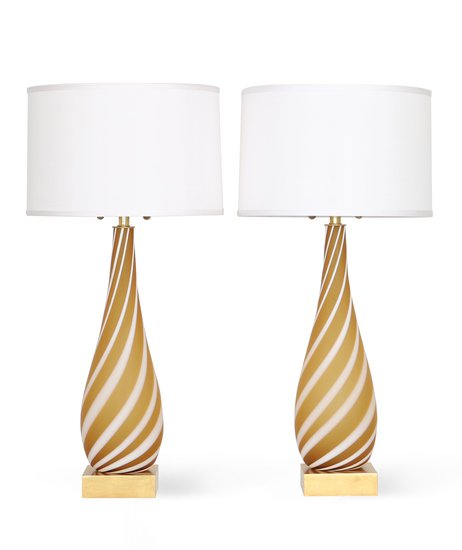 Pair of murano glass lamps in butterscotch and white sergio jaeger treniq 1 1520555180977