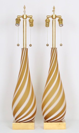 Pair of murano glass lamps in butterscotch and white sergio jaeger treniq 1 1520555193918