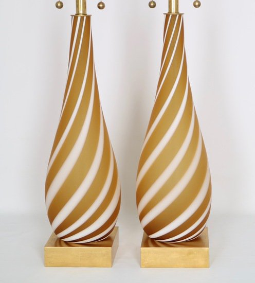 Pair of murano glass lamps in butterscotch and white sergio jaeger treniq 1 1520555193920