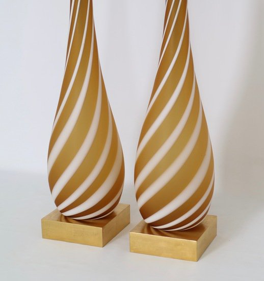 Pair of murano glass lamps in butterscotch and white sergio jaeger treniq 1 1520555193922