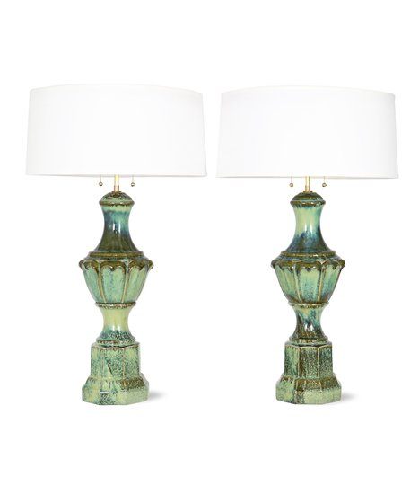 Pair of mid century majolica style porcelain baluster lamps sergio jaeger treniq 1 1520556598792