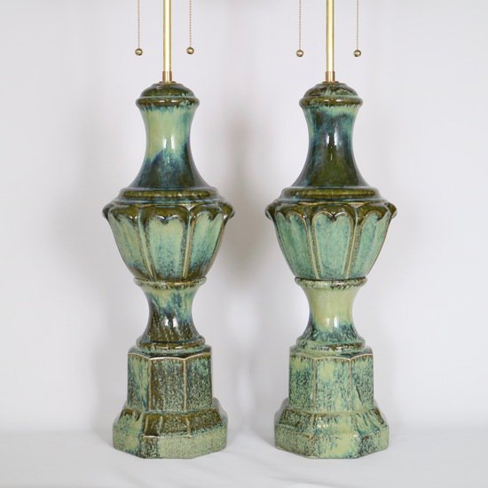 Pair of mid century majolica style porcelain baluster lamps sergio jaeger treniq 1 1520556607870