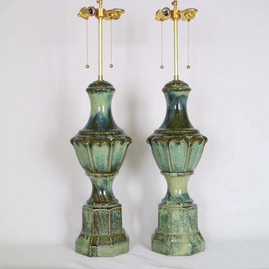 Pair of mid century majolica style porcelain baluster lamps sergio jaeger treniq 1 1520556607876