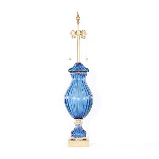 Restored seguso for marbro blue murano glass ribbed lamp sergio jaeger treniq 1 1520557705178