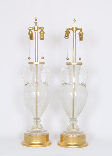 Murano glass urn lamps by seguso for marbro  pair sergio jaeger treniq 1 1520558417761
