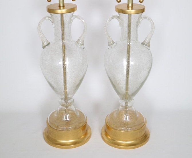 Murano glass urn lamps by seguso for marbro  pair sergio jaeger treniq 1 1520558417762