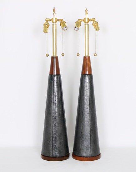 Pair of mid century modern black ceramic and walnut lamps by quartite creat sergio jaeger treniq 1 1520562127946
