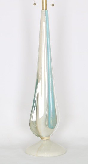 Flavio poli for seguso sommerso lamp in blue and white with gold aventurine sergio jaeger treniq 1 1520651625436