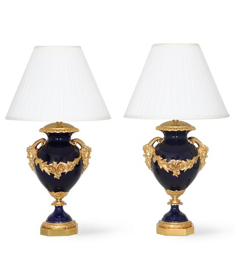 Neoclassical sevres style cobalt blue porcelain lamps gilt bronze accent sergio jaeger treniq 1 1520652613798