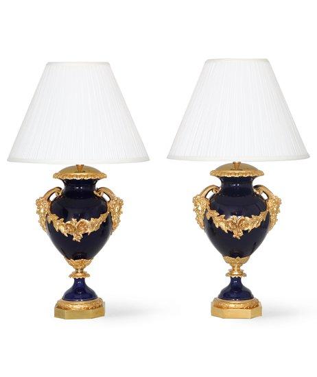 Neoclassical sevres style cobalt blue porcelain lamps gilt bronze accent sergio jaeger treniq 1 1520652613798