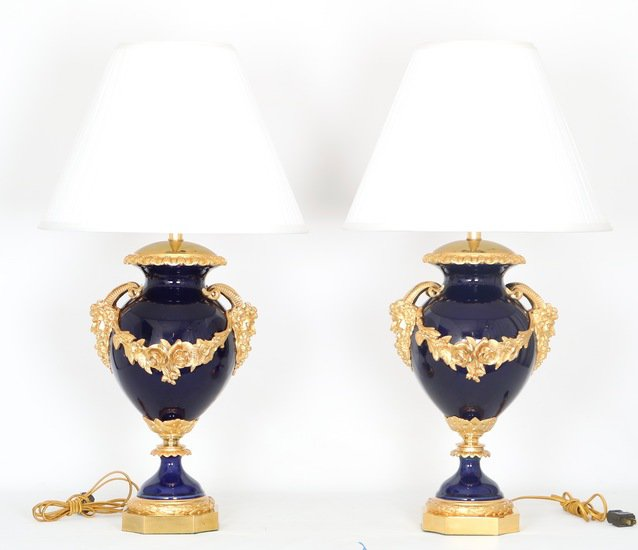 Neoclassical sevres style cobalt blue porcelain lamps gilt bronze accent sergio jaeger treniq 1 1520652622553